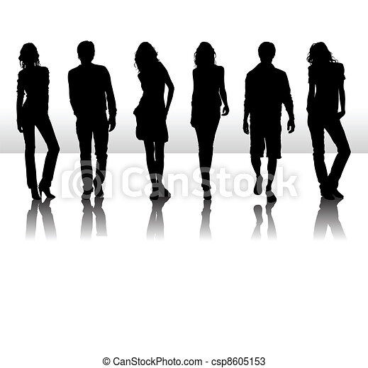 Vector illustration of fashion people silhouette - csp8605153