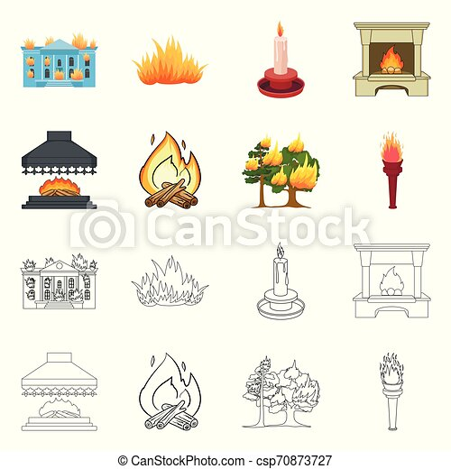 Vector illustration of fire and flame sign. Set of fire and fireball vector icon for stock. - csp70873727