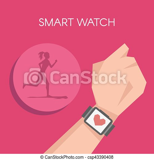 Vector illustration of Fitness tracker or smart watch wearable technology. Silhouette of running woman. - csp43390408
