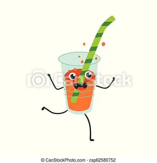 Vector illustration of fizzy soda in plastic cup with straw cartoon character. - csp62580752