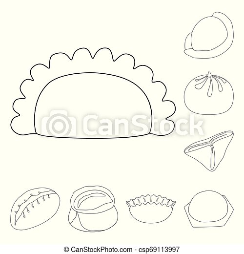 Vector illustration of food and dish symbol. Set of food and cooking stock vector illustration. - csp69113997