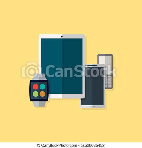 Vector illustration of gadget icons. Flat style. - csp28635452