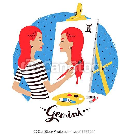 Vector illustration of Gemini zodiac sign