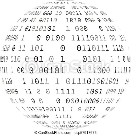 Vector illustration of globe with binary code - csp57917676