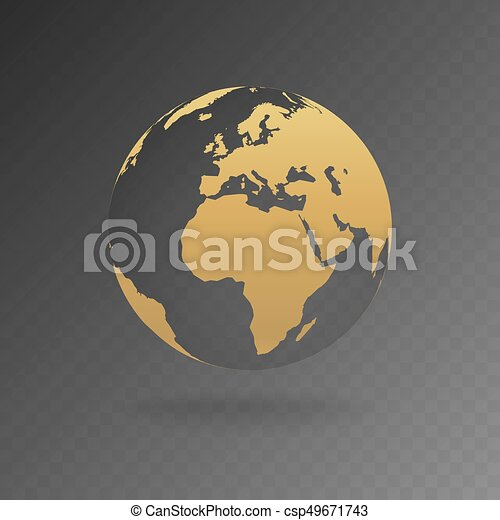Vector Illustration of gold globe icons with different continents - csp49671743
