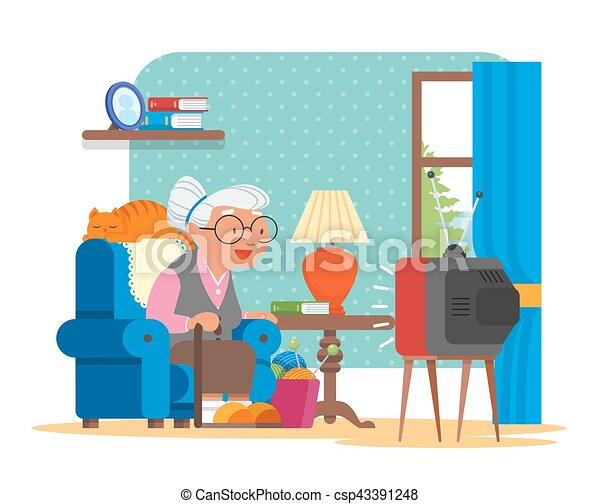 Vector Illustration Of Grandmother Sitting In Armchair And Watching Tv Cat Lying Behind Her Cartoon Characters Living Room Interior Flat Design