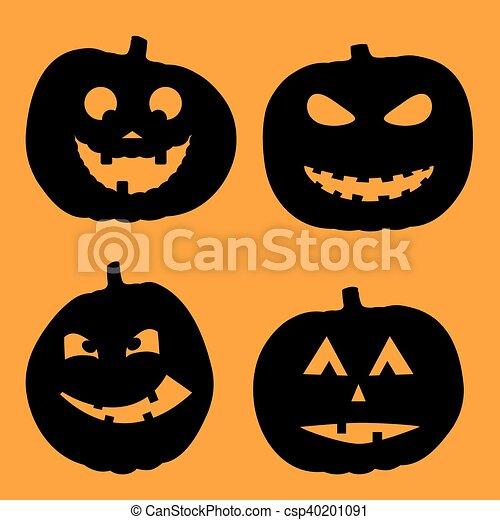 vector illustration of Halloween Background with Pumpkin - csp40201091