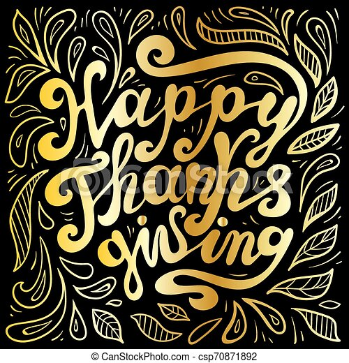 vector illustration of hand lettering thanksgiving lettering label - thanksgiving - surrounded with doodle - csp70871892