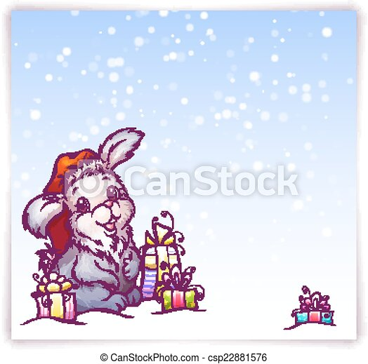 Vector illustration of hare in Christmas hat - csp22881576