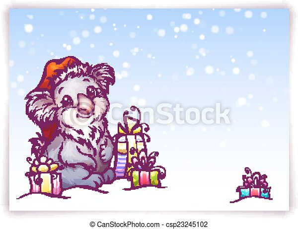 Vector illustration of hare in Christmas hat - csp23245102