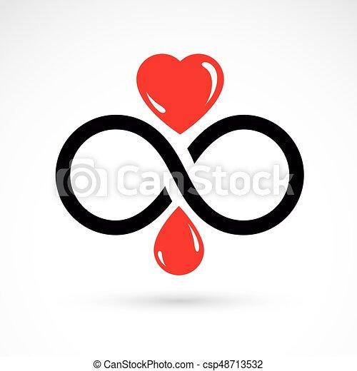 Vector Illustration Of Heart Shape And Infinity Symbol Hematology