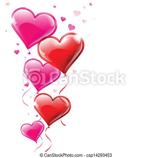 Vector illustration of heart shaped balloons flowing into the air - csp14293453