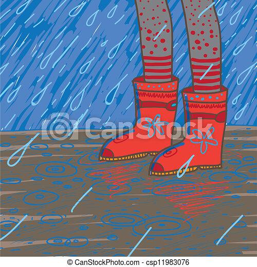 vector illustration of heavy rain, rubber boots - csp11983076