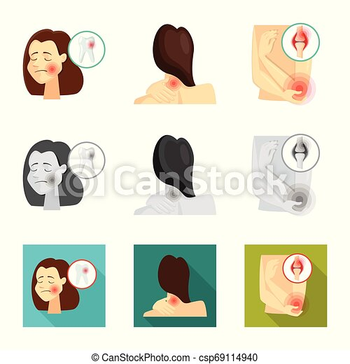 Vector illustration of hospital and rendering icon. Set of hospital and help stock symbol for web. - csp69114940