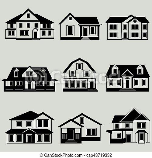 Vector illustration of houses icon black set - csp43719332