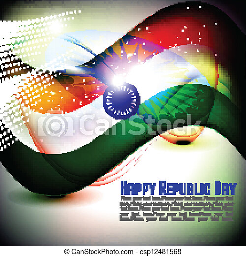 Vector illustration of Indian flag for Republic Day and Independence Day in shiny background. - csp12481568