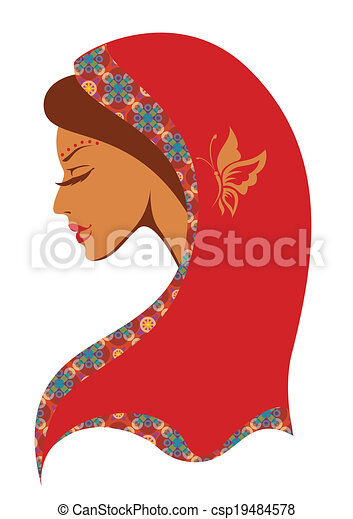 Vector  illustration of  Indian woman - csp19484578