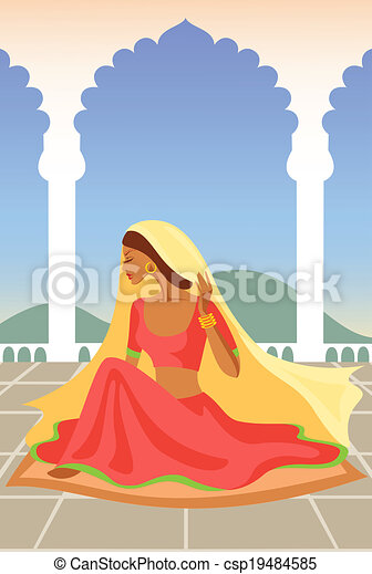 Vector  illustration of  Indian woman  in an Indian palace - csp19484585