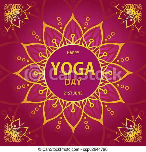 Vector Illustration Of International Yoga Day Abstract Symbol Of Sun And Life On A Red Background