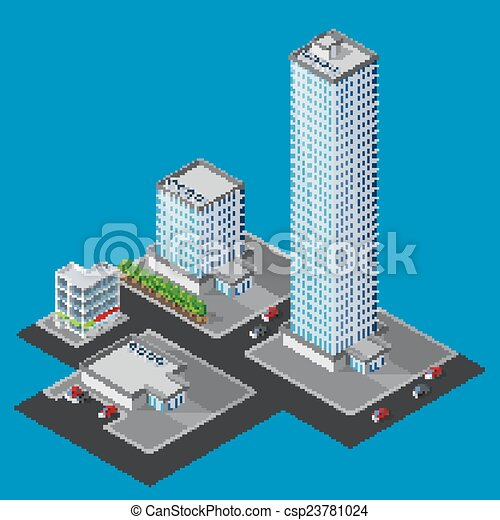 vector illustration of isometric cityscape - csp23781024