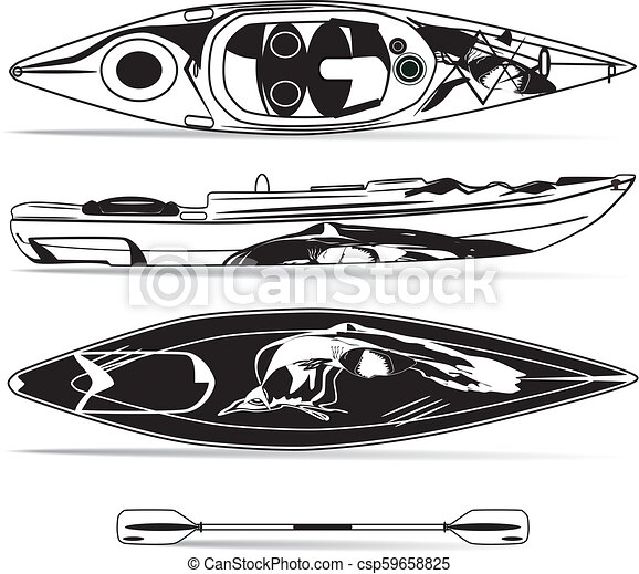 Vector illustration of kayak with paddle