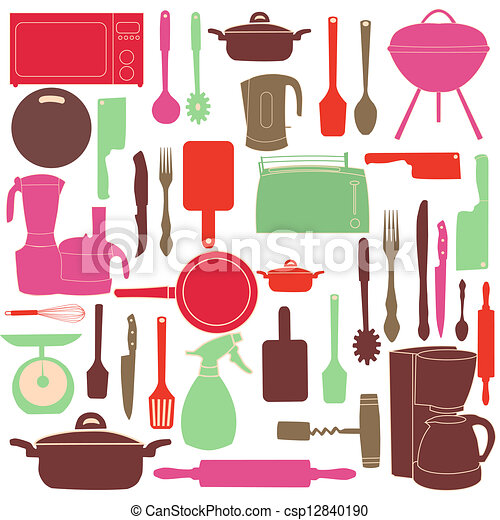 vector illustration of kitchen tools for cooking - csp12840190