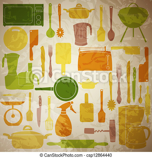 vector illustration of kitchen tools for cooking - csp12864440