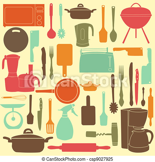 vector illustration of kitchen tools for cooking - csp9027925