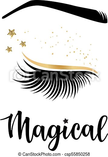 7c080459e2c Vector illustration of lashes with 'magical' inspiration for or beauty  salon, lash extensions maker, brow master.