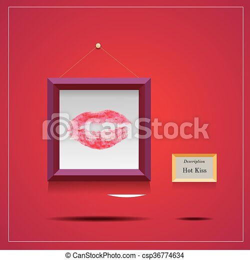 vector illustration of lipstic kiss in square frame - csp36774634