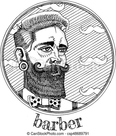 Vector illustration of male portrait profession barber. - csp48689791