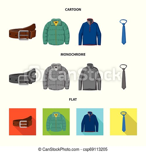 Vector illustration of man and clothing symbol. Set of man and wear stock vector illustration. - csp69113205