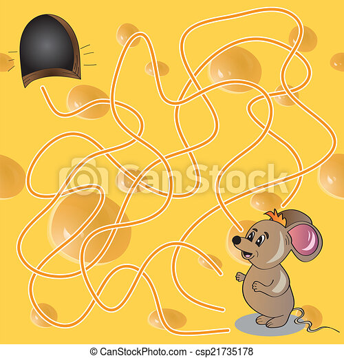 Vector Illustration of  Maze or Labyrinth Game with Funny Mouse - csp21735178