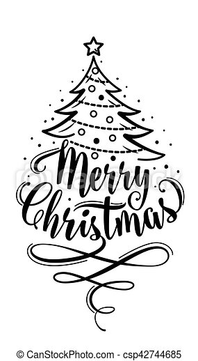 Merry Christmas Lettering.Vector Illustration Of Merry Christmas Lettering Text Sign