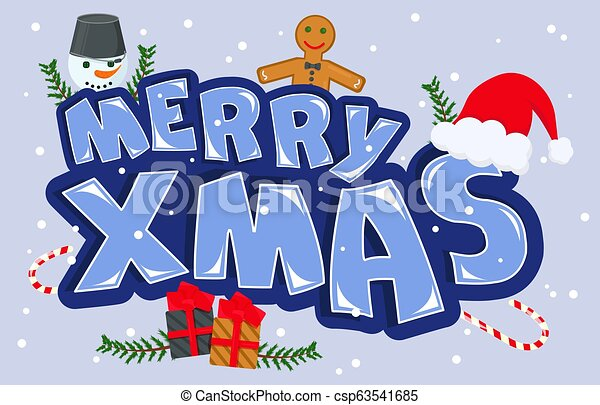 Vector Illustration of Merry Christmas - csp63541685