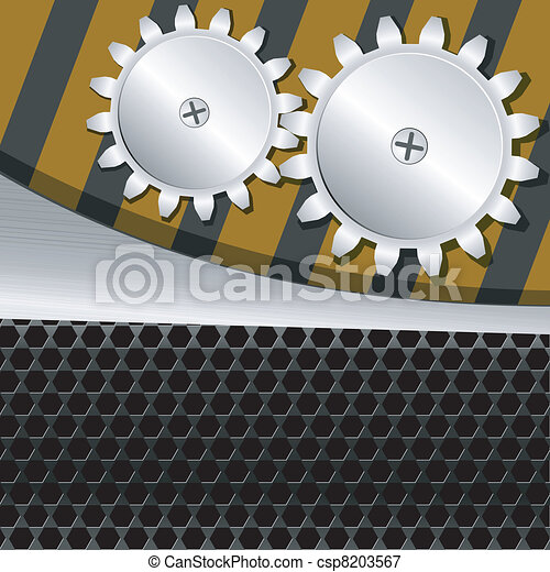 Vector illustration  of metal background with gears - csp8203567