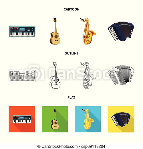 Vector illustration of music and tune logo. Collection of music and tool stock symbol for web. - csp69113204