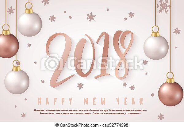 Vector illustration of new year greeting card with hand lettering ...