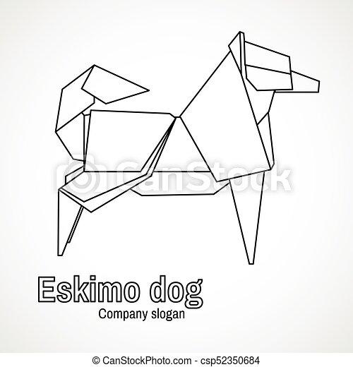 Vector Illustration Of Outline Origami Dog
