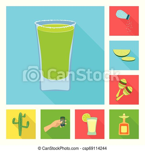 Vector illustration of party and celebration logo. Collection of party and Latin stock symbol for web. - csp69114244
