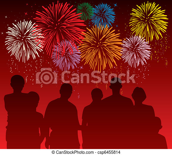 vector illustration of people watching colorful fireworks  - csp6455814