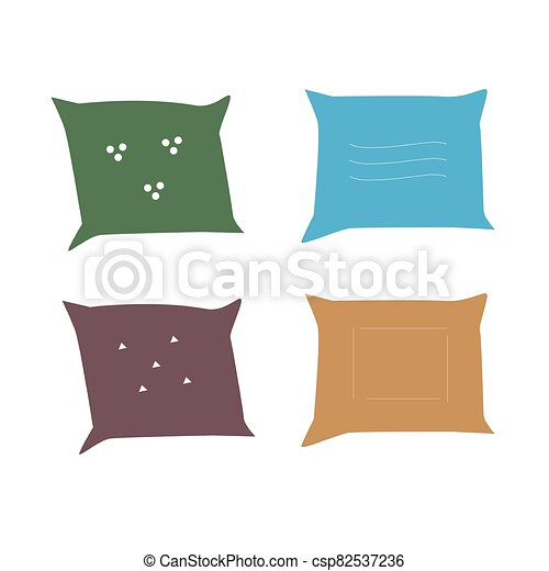 Vector illustration of pillows. Isolated image on a white background - csp82537236