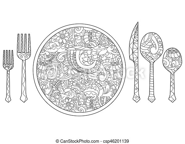 Vector illustration of plate, knife, spoon and fork. Cutlery set. - csp46201139