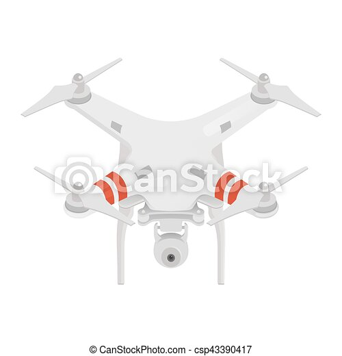Vector illustration of quadrocopter or drone isolated on white background. - csp43390417