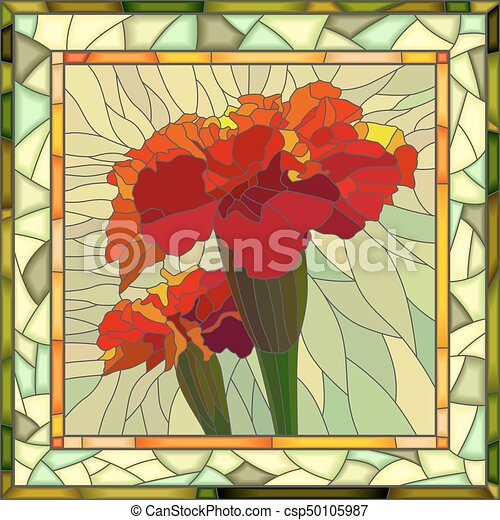 Vector Illustration Of Red Marigold Vector Mosaic Of Brightly Red