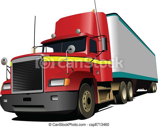 Vector illustration of red truck.  - csp8713460