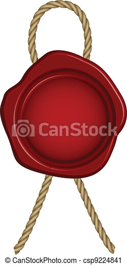 Vector illustration of red wax seal - csp9224841