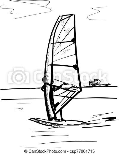 vector illustration of sailing boat - csp77061715