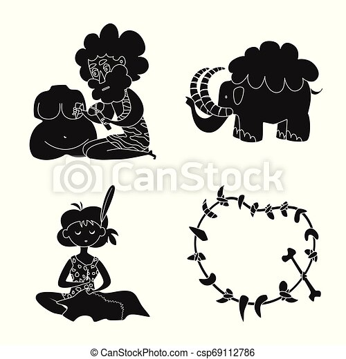 Vector illustration of sapiens and development sign. Set of sapiens and age vector icon for stock. - csp69112786