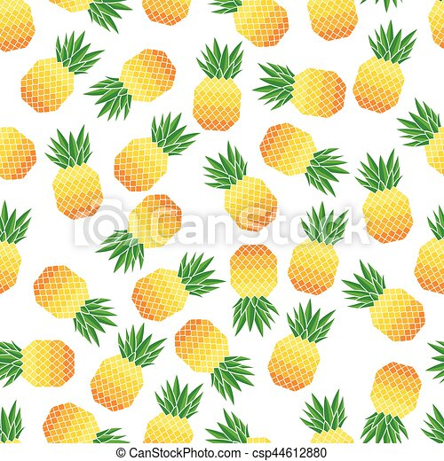 Vector illustration of seamless pattern with pineapples - csp44612880